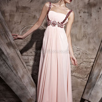 A-line Straps Chiffon Floor-length Pink Rhinestone Evening Dress at dressestore.co.uk