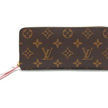 LOUIS VUITTON Clemence around wallet Purse M61298 Monogram Rose Ballerine Used