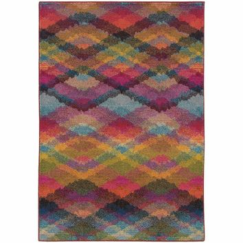 Kaleidoscope Multi Pink Geometric Argyle Transitional Rug