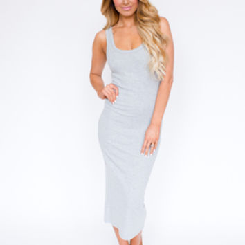 Ribbed Tank Midi Dress- Grey