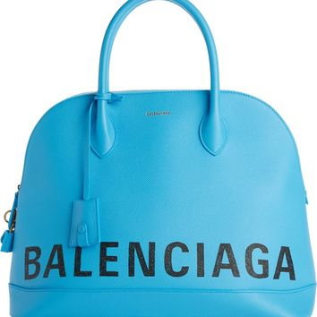 Balenciaga Medium Logo Leather Satchel with Water Repellent Coat | Nordstrom