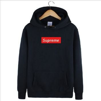 Supreme Hooded popular logo sets name sweethearts outfit long-sleeved Black