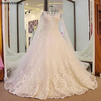 LS65711 Luxury Ball Gown Wedding Dresses Princess Lace Corset Back Appliqued Lace Hochzeitskleid Online Shop China Real Photos
