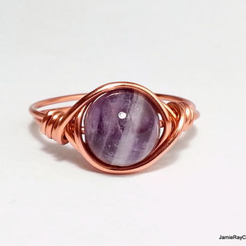 Amethyst Ring, Copper Wire Wrapped Ring, Banded Purple Gemstone Ring, Boho Hippie Ring, Wirewrap Copper Purple Ring, Copper Wrap Stone Ring