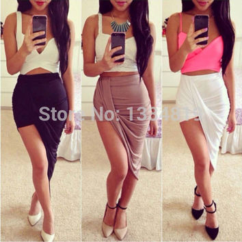 Sexy Fashion 2015 New Solid High Low Wrapped Elastic Waist Asymmetrical Skirt Draped Cut Out Skirt