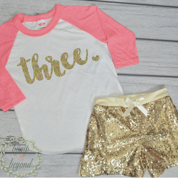 3 Year Old Birthday Shirts 3rd Birthday Shirt Outfit Set with Shorts Toddler Girl Gold Outfit Gold Sequin Shorts Raglan Set 102