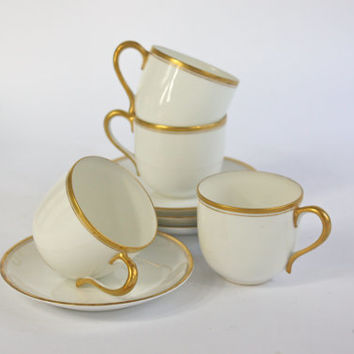 Noritake Tea Cup Set / White and Gold / SET of 4
