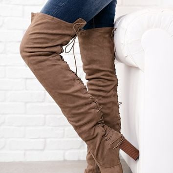 Made For Walkin' Thigh High Boots (Taupe Suede)