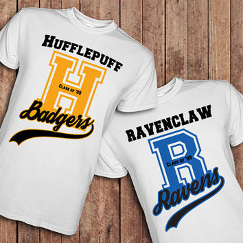 Harry Potter, Hogwarts school colours T-Shirt, Hufflepuff, Ravenclaw Crests,Various Colours and Sizes