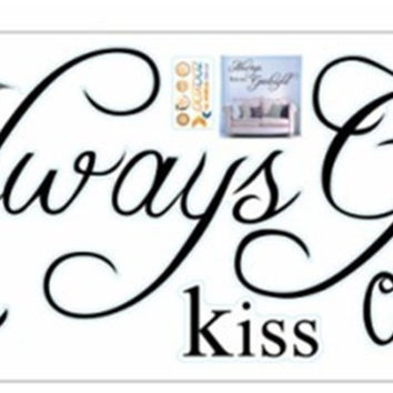 "22.8"" x 10.2""Always Kiss Me Goodnight DIY Removable Art Vinyl Quote Wall Sticker Decal Mural Home decoration SM6"