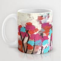 Art Flower cup, original art by LeonLion, pretty red pink and blue cup, unique art mug