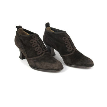 1980s Victorian Chunky Heeled Boots Brown Suede Ankle Boots Vintage Leather Ankle Granny Boots Pull On Brown Ankle Booties Size 6.5