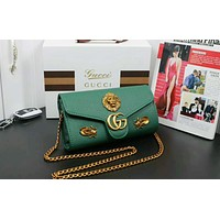 Gucci Popular Women Shopping Bag Leather Metal Insects Shoulder Bag Crossbody Satchel Green I-OM-NBPF