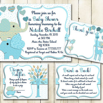 Pastel blue cream elephant baby shower printable invitation set giraffe turtles tree boy digital invite with inserts DIY card book diaper