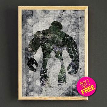 Hulk, Print, black & white, Superhero poster, Marvel, Art, Hulk Illustration, Wall art, Hulk avenger poster, Gift, Home Decor - 388s2g