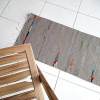 Natural grey handwoven wool rug with colorful accents - organic handmade rug for your home decor