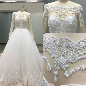 Long sleeves Off the shoulder Crystal Beading Wedding Dresses Ball Gowns Elegant Bridal Gowns