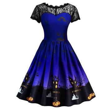 Fast Sending Hot Women's Fashion Halloween Lace Short Sleeve Vintage Gown Evening Party Dress Party Costume Drop Shipping c925
