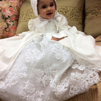 Victoria//Christening gown with bonnet//Victorian inspired baptism gown//White silk baptism dress//by Elena