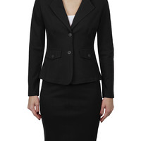 Womens Fitted Blazer and Skirt Suit Set with Stretch