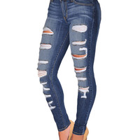 Denim Blue Distressed Skinny Jeans