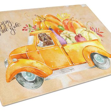 Fall Harvest Labradoodle Glass Cutting Board Large CK2623LCB