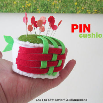 Felt Pincushion Flowers Sewing pattern, Stuffed handmade plushie
