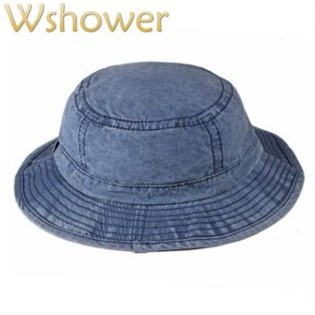 Washed Denim Bucket Hat Hip Hop Casual Wide Brim Summer Hat For Women Solid Men Sun Panama Large Brim Male Beach Fishing Cap