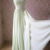 Seafoam Green Bridesmaid Dress. One Shoulder Bridesmaid Dress. Chiffon A-line BRIDESMAID DRESS- A-line Wedding Dress- Prom Dress Green Dress