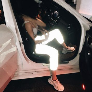 The same paragraph loose beam foot spring street night running reflective pants