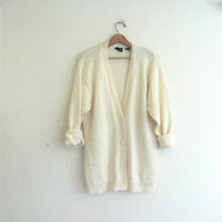 Vintage white Button Up Cardigan. Mohair Wool long Sweater. Preppy Oversized Sweater Cardigan