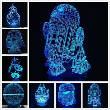 3D Lamp Star Wars  LED Night Light - Yoda Death Star R2D2 BB-8 Darth Vader Stormtrooper