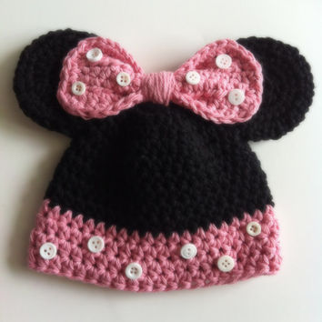 Mickey and Minnie Mouse Crochet Hats, Halloween, Boy/Girl, Photo Prop