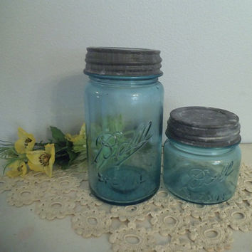 Rare Vintage SPECIAL Ball Jars # 4 and 8 ~ Squat Squatty Pint ~ Quart Jar Zinc Lid 1910 - 1920
