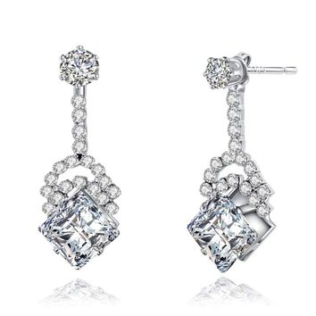 Elegant Clear CZ Square Drop Earrings 925 Sterling Silver Dangle Earrings