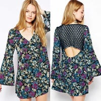 Vintage Floral V-Neck Bell Sleeve with Lace Cut-Out Back Mini Dress