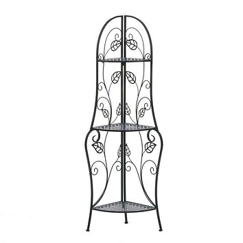 Traditional Iron Corner Bakers Rack 3-Tier Plant Stand Kitchen Dining Shelf