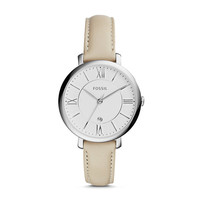 Jacqueline White Leather Watch
