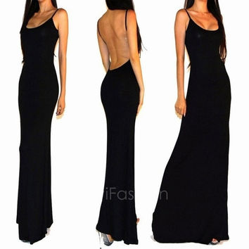 New Summer Black Party Evening Backless Back Sexy Cocktail Long Sleeveless Dress VVF = 1946092804