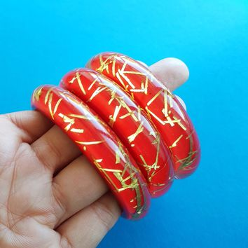 Grace Lucite confetti bracelet in Red & Gold thread by Bow and Crossbones