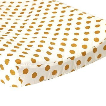 Metallic Medium Gold Dots Quilted Changing Pad Cover - Fits Standard Contoured Changing Pads