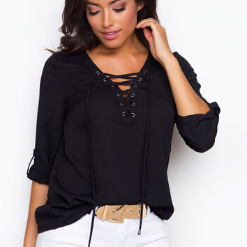 Casual V Neck Lace Up Half Sleeve Solid Color Blouse - NOVASHE.com