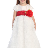 White Taffeta & Chiffon Ribbons Blossom Flower Girl Gown (Girls 6 months - size 12)