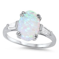 A Perfect 10mm Cabochon Australian White Opal Engagement Ring