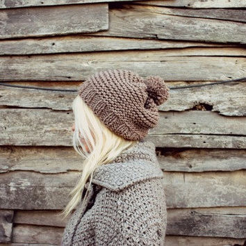 Womens Hand Knitted Pompon Beret- Beige