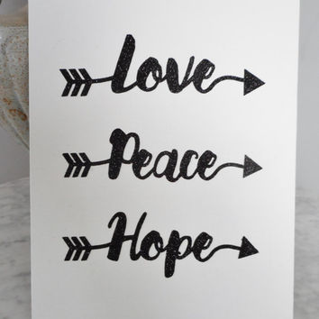 Love Peace Hope Black Glitter Print on White Canvas Panel Wall Art, Love Wall Art, Quote Decor, Housewarming, Ouote Art Print, Inspirational