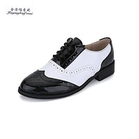 Four Seasons Hot Genuine leather Black+white sapato women oxford shoes leisure Derby Flat shoes Wing Tip Shoes