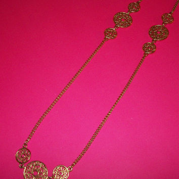 "Medallion Necklace Filigree Gold Metal 32"" Cable Chain Vintage 1980's Fashion Jewelry"