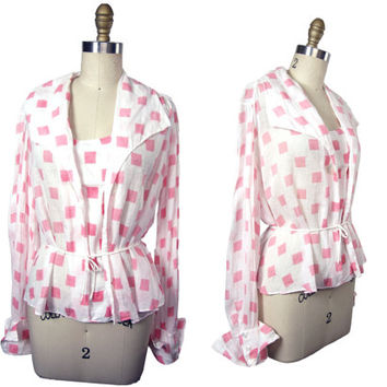 1920s White with Pink Squares Printed Linen Blouse Meyer Siegel and Co. Los Angeles