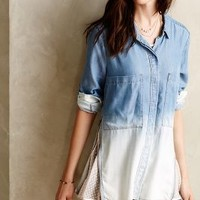 Zipped Lace Buttondown by Holding Horses Light Denim